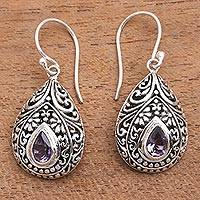 Amethyst dangle earrings, 'Balinese Dewdrop' - Artisan Crafted Balinese Amethyst and Silver Earrings