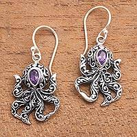 Amethyst dangle earrings, 'Lovely Tentacles' - Octopus-Themed Amethyst Dangle Earrings from Bali