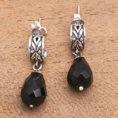 Onyx dangle earrings, 'Balinese Night' - Modern Balinese Dangle Earrings with Faceted Black Onyx