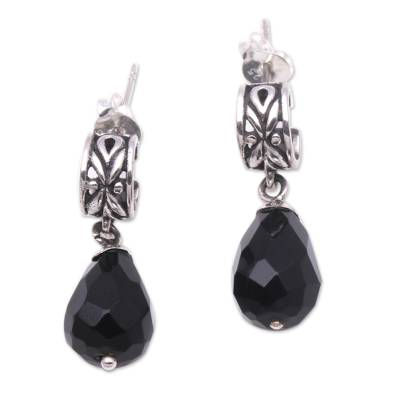 Modern Balinese Dangle Earrings with Faceted Black Onyx