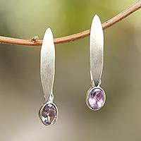 Amethyst dangle earrings, 'Elegant Ellipses' - Elliptical Amethyst Dangle Earrings from Bali