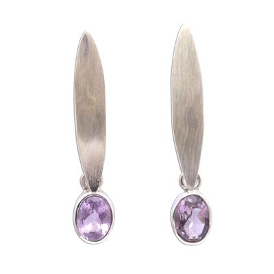 Elliptical Amethyst Dangle Earrings from Bali