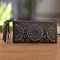 Leather clutch, 'Borobudur Stars in Coffee' - Circle Pattern Leather Clutch in Espresso from Bali