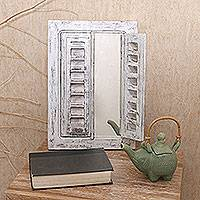 Wood wall mirror, 'Balinese Window in White' - Whitewashed Wood Wall Mirror with Hinges from Bali