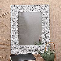 Wood wall mirror, 'Jepun Garden' - Floral Pattern Whitewashed Wood Wall Mirror from Bali