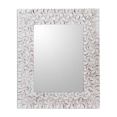 Floral Pattern Whitewashed Wood Wall Mirror from Bali