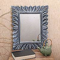 Wood wall mirror, 'Plaga Forest in Brown' - Leaf Pattern Wood Wall Mirror in Brown from Bali