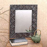 Wood wall mirror, 'Dark Squares' - Square Pattern Wood Wall Mirror from Bali