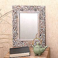 Wood wall mirror, 'Garden of Bali' - Artisan Crafted Wood Wall Mirror from Bali