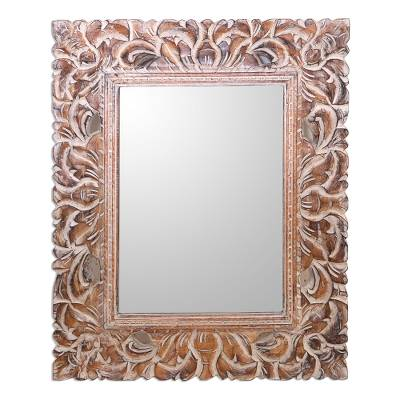 Artisan Crafted Wood Wall Mirror from Bali