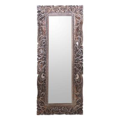 Hand-Carved Wood Wall Mirror Crafted in Bali