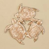 Wood relief panel, 'Three Sea Turtles' - Whitewashed Wood Sea Turtle Relief Panel from Bali