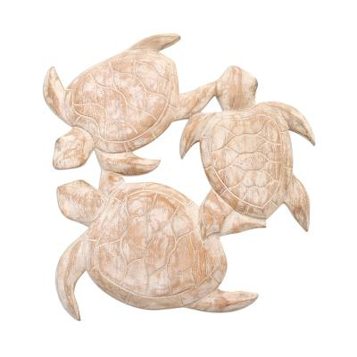 Wood relief panel, 'Three Sea Turtles' - Whitewashed Wood Sea Turtle Relief Panel from Bali