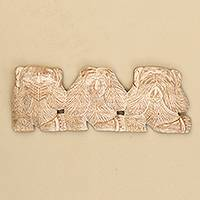 Wood relief panel, 'Three Wise Monkeys'