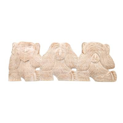 Wood relief panel, 'Three Wise Monkeys' - Whitewashed Wood Monkey Relief Panel from Bali