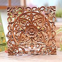 Wood relief panel, 'Square Lotus' - Square Floral Suar Wood Relief Panel from Bali
