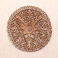 Wood relief panel, 'Round Lotus'