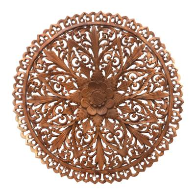 Wood relief panel, 'Round Lotus' - Round Floral Suar Wood Relief Panel from Bali