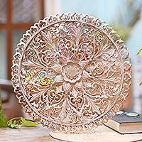 Wood relief panel, 'Whitewashed Round Lotus' - Round Floral Whitewashed Wood Relief Panel from Bali