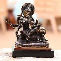 Brass sculpture, 'Durga Warrior' - Antiqued Brass Sculpture of the Hindu Goddess Durga