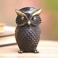 Brass figurine, 'Dark Owl' - Antiqued Brass Owl Figurine Crafted in Bali