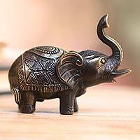 Brass figurine, 'Innocent Elephant' - Antiqued Brass Elephant Figurine Crafted in Bali