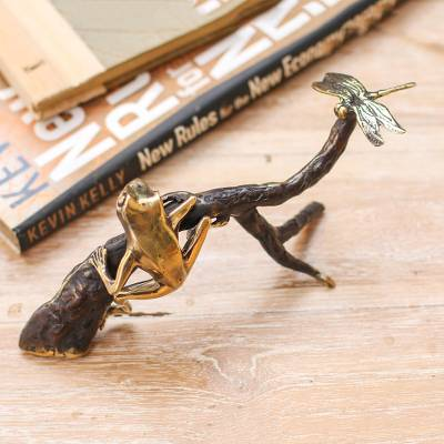 Brass sculpture, 'The Hunt' - Frog and Dragonfly-Themed Antiqued Brass Sculpture from Bali
