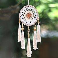 Cotton mobile, 'Beauty Sleep' - Cotton Mobile with Wood Beads from Bali