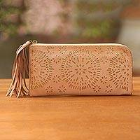 Leather clutch, 'Matahari Bliss in Blush'