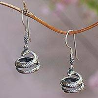 Sterling silver dangle earrings, 'Protective Cobras' - Sterling Silver Snake Dangle Earrings Crafted in Bali