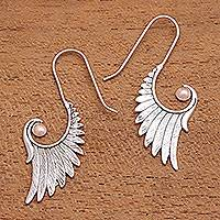 Gold accented sterling silver drop earrings, 'Secret Flight' - Gold Accented Sterling Silver Wing Drop Earrings from Bali