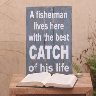 Wood wall sign, 'Best Catch' - Romantic Nautical Wood Wall Sign from Bali