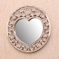 Wood wall mirror, 'Jepun Love' - Whitewashed Floral Heart-Shaped Wood Wall Mirror