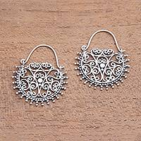 Sterling silver hoop earrings, 'Balinese Delight' - Swirling Openwork Sterling Silver Hoop Earrings from Bali