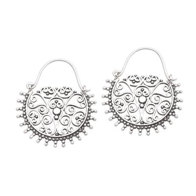 Sterling silver hoop earrings, 'Balinese Delight' - Swirling Openwork Sterling Silver Hoop Earrings from Bali