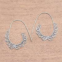 Sterling silver half-hoop earrings, 'Moving Swirls' - Openwork Pattern Sterling Silver Half-Hoop Earrings