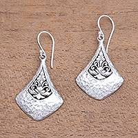 Sterling silver dangle earrings, 'Floral Kites' - Kit-Shaped Sterling Silver Dangle Earrings from Bali