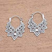 Sterling silver hoop earrings, 'Beautiful Pattern' - Patterned Sterling Silver Hoop Earrings from Bali