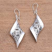 Sterling silver dangle earrings, 'Curved Bliss' - Curved Floral Sterling Silver Dangle Earrings from Bali