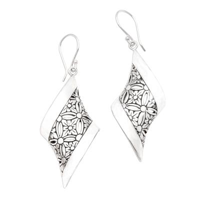 Sterling silver dangle earrings, 'Curved Bliss' - Curved Floral Sterling Silver Dangle Earrings from Bali