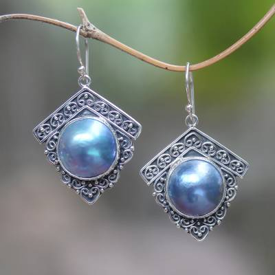 Cultured pearl dangle earrings, 'Sky Houses' - Blue Cultured Pearl Dangle Earrings from Bali