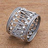 Sterling silver band ring, Openwork Path