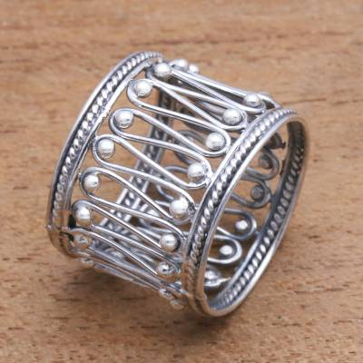 Sterling silver band ring, 'Openwork Path' - Openwork Pattern Sterling Silver Band Ring from Bali