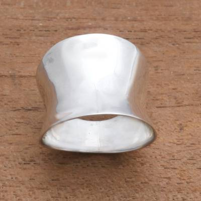 Sterling silver band ring, 'Contemporary Shine' - Modern Sterling Silver Band Ring from Bali