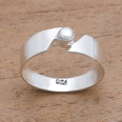 Cultured pearl band ring, 'Glowing Band' - Cultured Pearl Band Ring Crafted in Bali