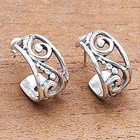 Sterling silver half-hoop earrings, 'Feminine Swirls' - Swirl Pattern Sterling Silver Half-Hoop Earrings from Bali