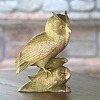 Wood sculpture, 'Owl Shelter' - Hibiscus Wood Sculpture of Two Owls from Bali