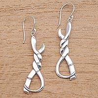 Sterling silver dangle earrings, 'Twisted Bamboo' - Twisted Bamboo Sterling Silver Dangle Earrings from Bali