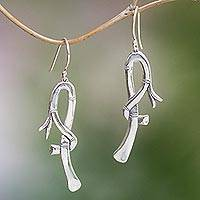 Sterling silver dangle earrings, 'Bamboo Hooks' - Hook-Shaped Sterling Silver Dangle Earrings from Bali