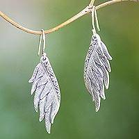 Sterling silver dangle earrings, 'Artisanal Wings' - Sterling Silver Wing Dangle Earrings Crafted in Bali
